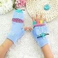 Marca Outono Inverno Dos Miúdos 6A-12A Quente Listrado Luvas de Fitness Luvas Sem Dedos Malha Crianças Menino Menina Luvas de Meio Dedo de Luva
