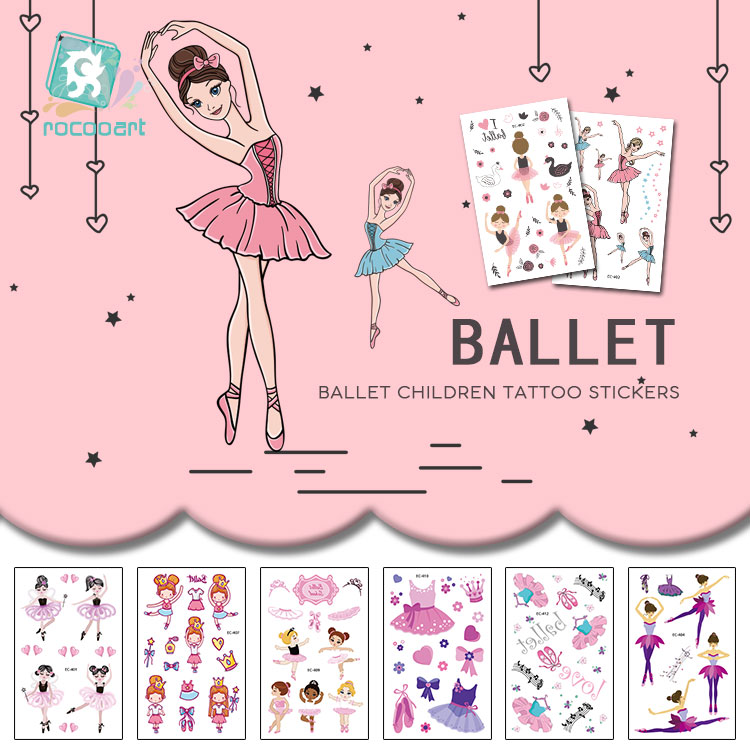 Rocooart Ballet Girls Tattoo For Kids Birthday Gift Cute Cartoon Fake Taty Children Body Art Waterproof Temporary Tattoo Sticker
