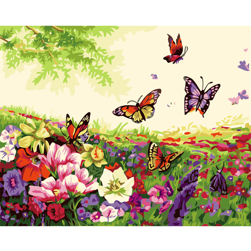 Diy painting by numbers butterflies flowers picture hand painted canvas oil paintings font b living b