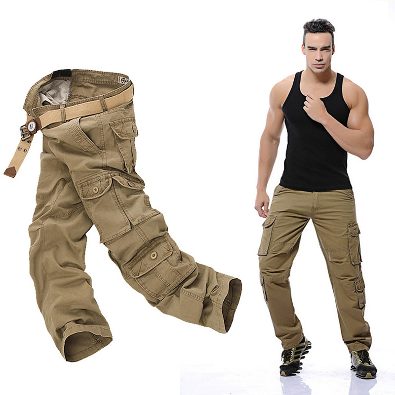 Outdoor Hunting Cotton Trousers Multi-pockets Cargo Pants Military Style with Zipper Pockets Men Tactical Hiking Pants charmkpr mens military outdoor loose large size cotton multi pockets cargo pants