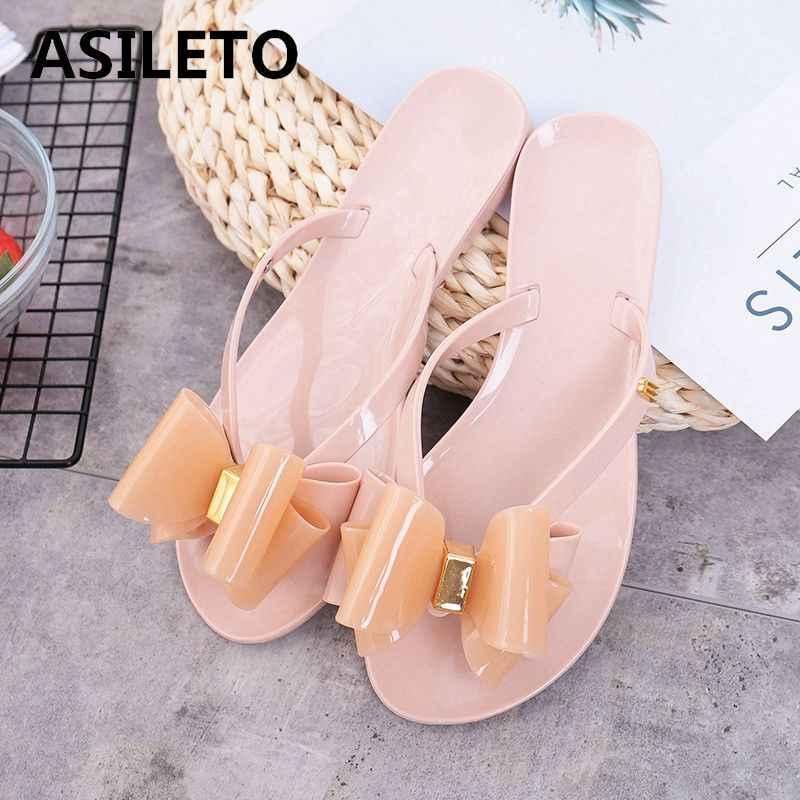 5fce4d207dbe ASILETO Summer Women slippers Mules Beach shoes bowtie Sweet Women s  Sandals Jelly Shoes flip flops pantufas