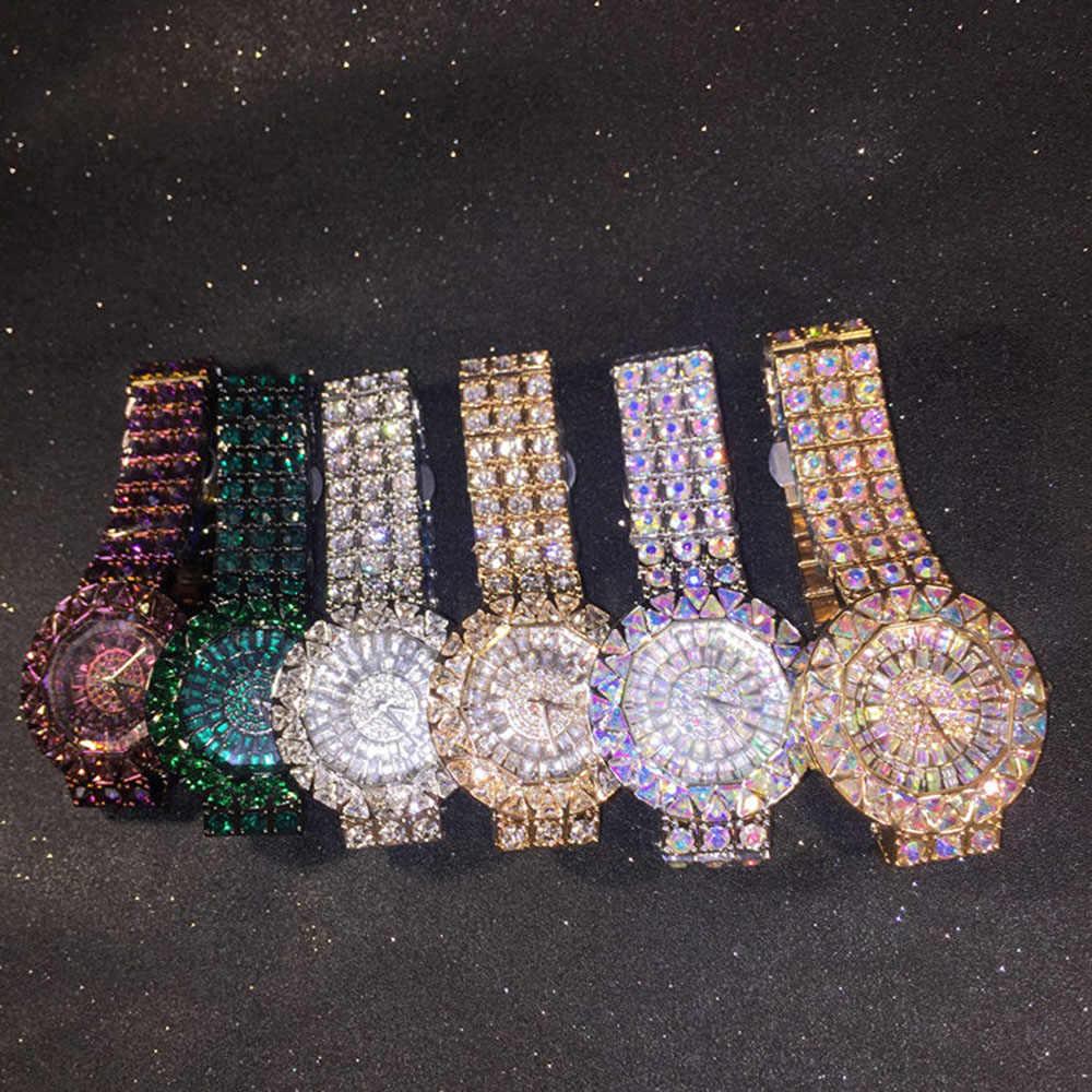 יוקרה למעלה מותג מלא יהלומי שעון אופנה הניצוץ אוסטריה קריסטל שמלת שעון גדול ריינסטון נירוסטה גבירותיי שעוני יד