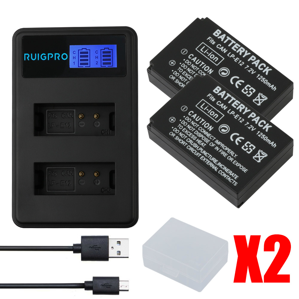 RP 1250mah LP-E12 LPE12 LP E12 Camera Battery AKKU + LCD USB Charger for Canon M 100D Kiss X7 Rebel SL1 EOS M10 M50 DSLR