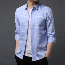 4e3c0e0f805 2019 модные брендовые рубашки для мужчин в полоску высокое качество с  длинным рукавом Slim Fit уличная одежда Корейский платье р.