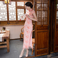 DJGRSTER 2017 New Summer Sexy Pink Chinese Women Long Dress Traditional Lace Dresses Qipao Cheongsam Flower Size S-2XL