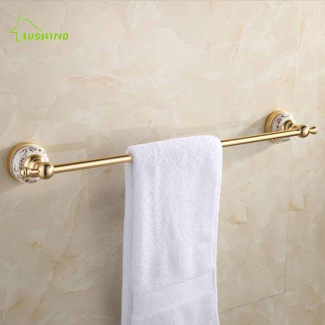 Gold Towel Rails For Bathrooms: European Antique Gold Bathroom Towel Bar Single Towel Rail