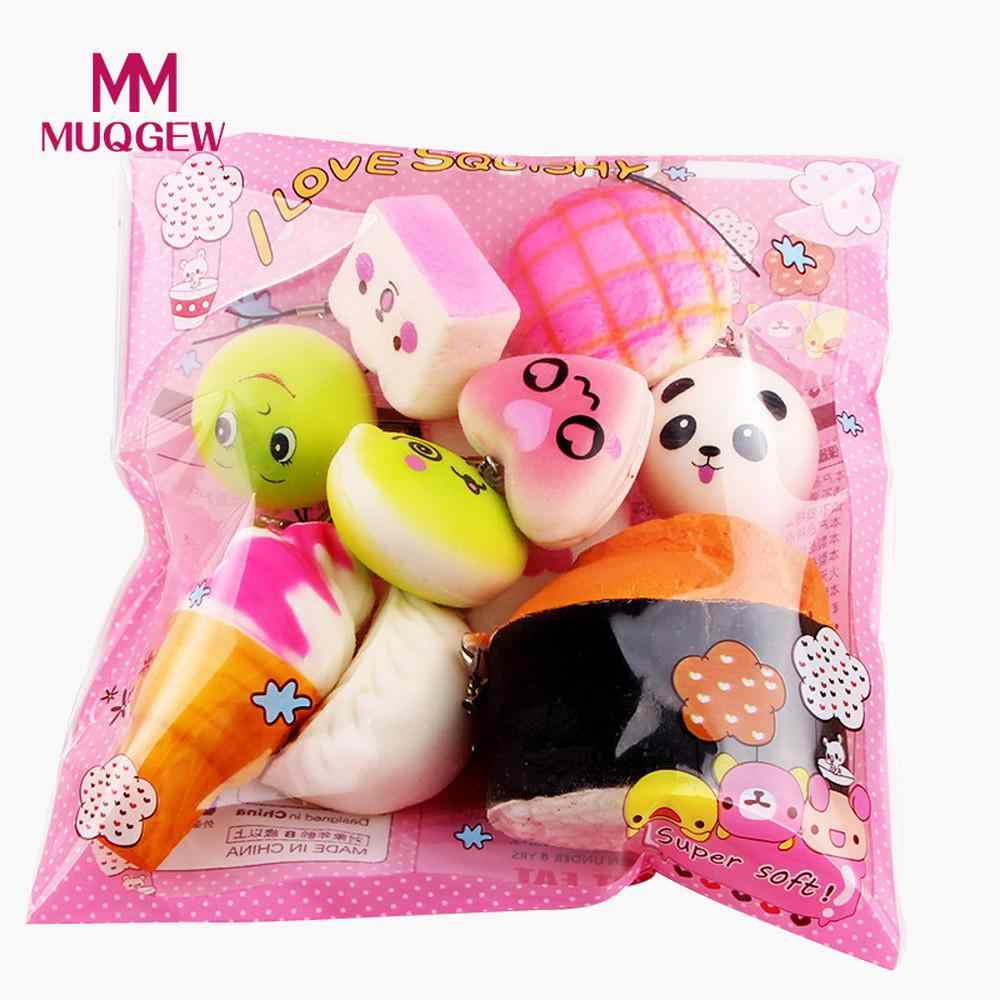 MUQGEW 5-15 Pcs Funny Cute Kawaii Bread Loaf Cake Bun Donuts Ice Cream Squishy Slow Rising Toy Anti Stress Anxiety Random /PY