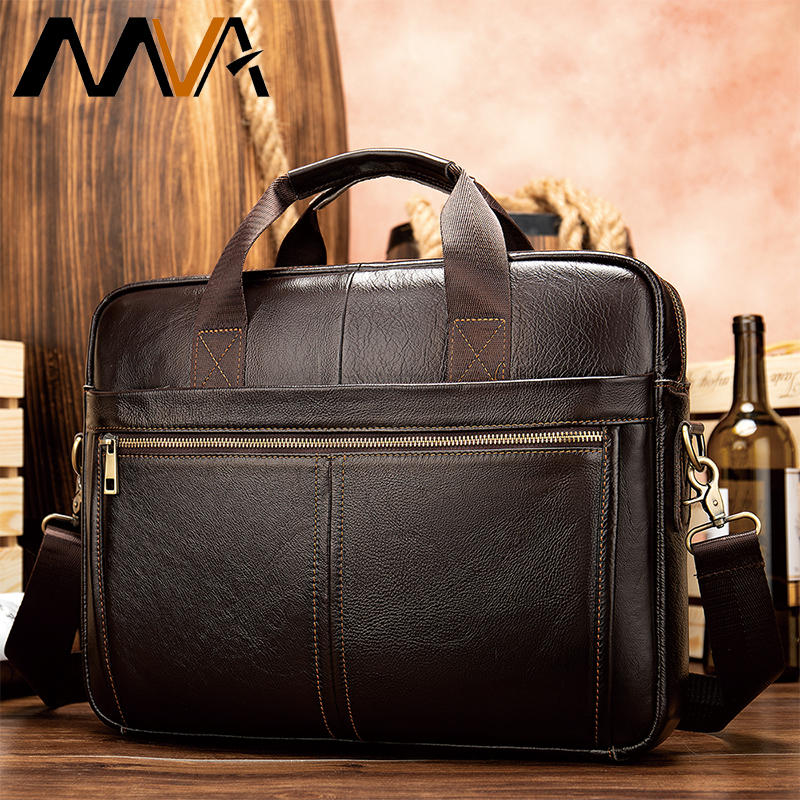 MVA Men's Briefcase/genuine Leather Messenger Bag Men Leather/business Laptop Office Bags For Men Briefcases Men's Bags 8572