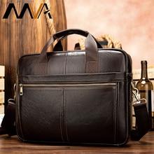 MVA mens briefcase/genuine Leather messenger bag men leather/business laptop office bags for men briefcases mens bags 8572