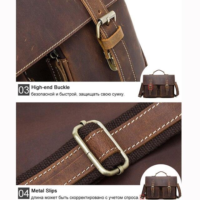 Westal negócios maletas saco masculino para advogado vintage cavalo louco couro portátil pastas saco 14 polegada escritório/documento sacos 5