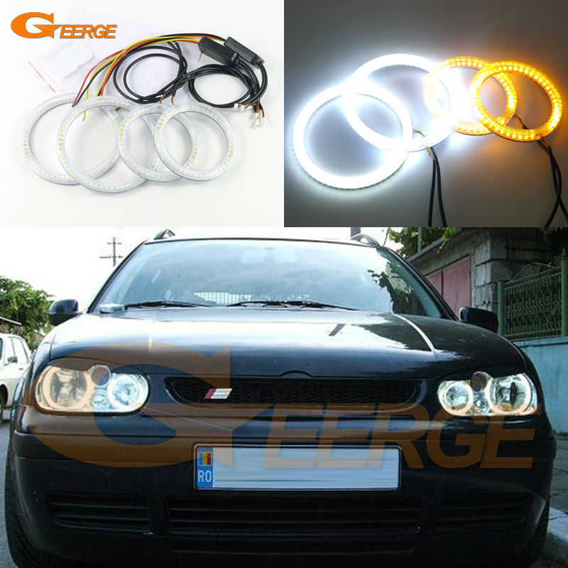 цена на For Volkswagen VW Golf MK4 R32 GTi VR6 CABRIO A4 1998-2004 Excellent Ultra bright Dual Color Switchback smd LED Angel Eyes kit