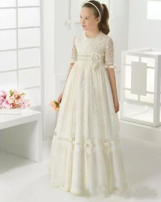 2019 Lace   Flower     Girl     Dresses   For Wedding Holy First Communion   Dresses   Floor Length Birthday Party   Dresses   Pageant Gowns