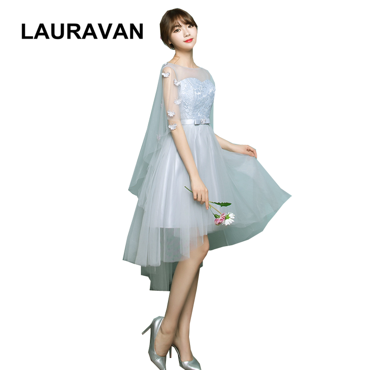 lady girl gray ladies lace tulle formal elegant woman evening dress short front long back gown new fashion 2019 high low dresses