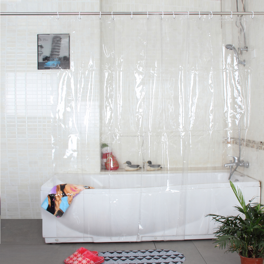 Glad Tree Plast Eco-Friendly Full Transparent Vattentät Dusch Gardin PVC Badrum Gardin Thicken Plastic Bath Curtain 18s