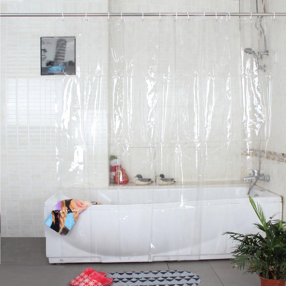 Mutlu Ağacı Plastik Çevre Dostu Tam Şeffaf Su Geçirmez Duş Perdesi PVC Banyo Perdesi Kalınlaşmak Plastik Banyo Perdesi 18 s