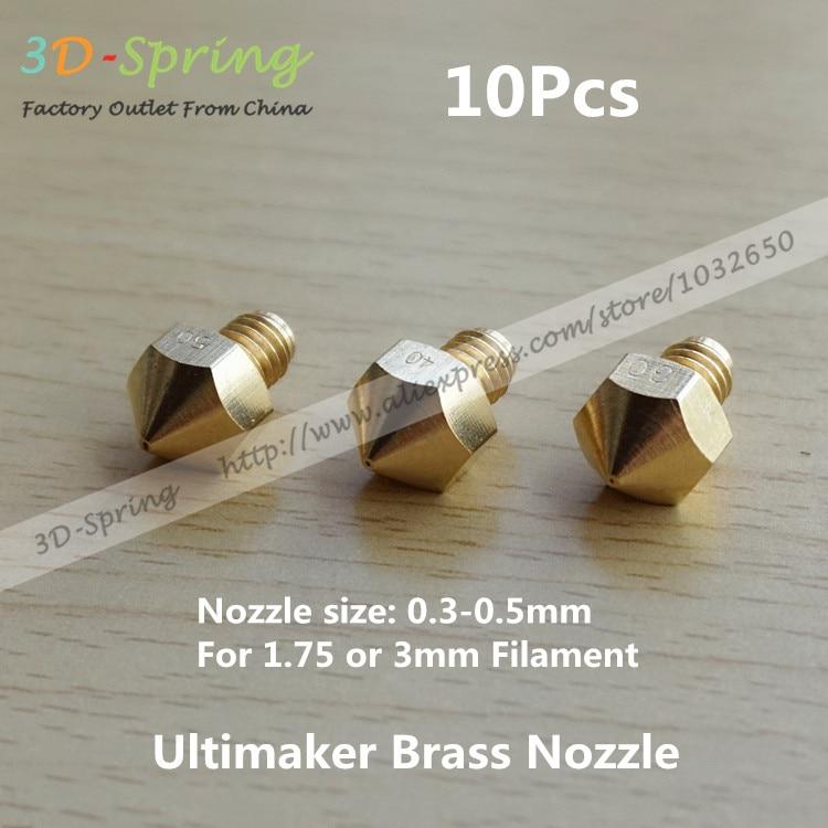 10 Unids Ultimaker Boquilla de Latón 0.3 0.4 0.5mm 1.75mm 3mm Filamento Caliente