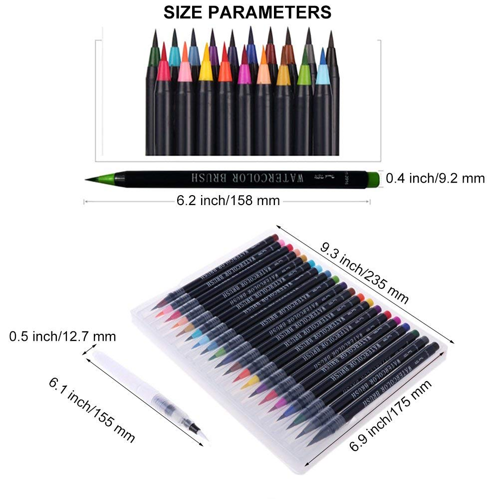 MyLifeUNIT 20 Colors/set Art watercolor Brush Refillable Painting Brush Watercolor brush Water Tank Calligraphy Brush For Artist