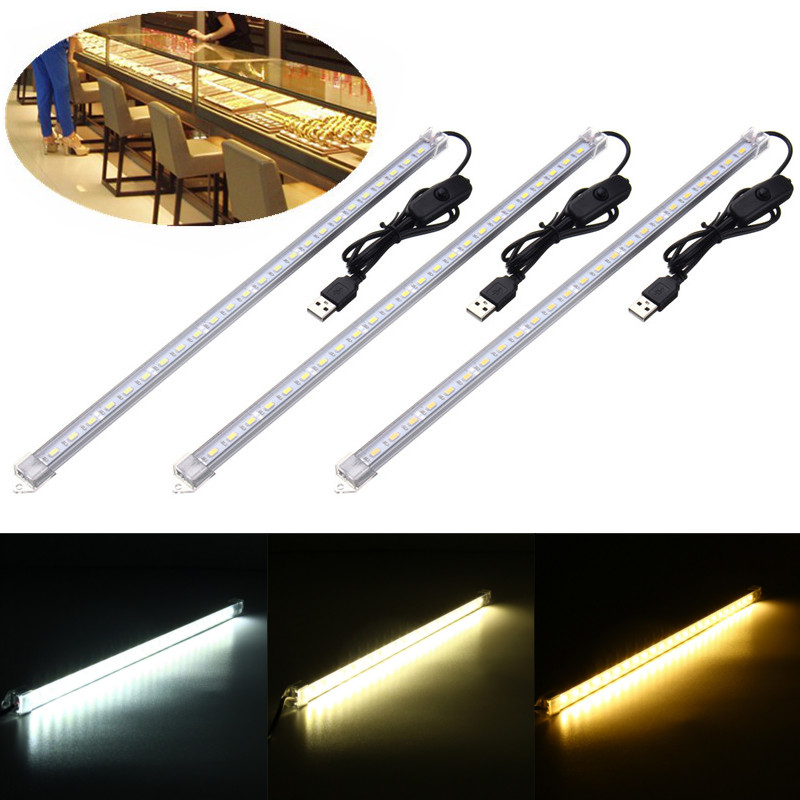 USB Powered DC 5V 35CM 7W 24 SMD 5630 LED Bar Light Rigid Strip Hard Bar Light Recharge Tube Lamp With Transparent Cover ...