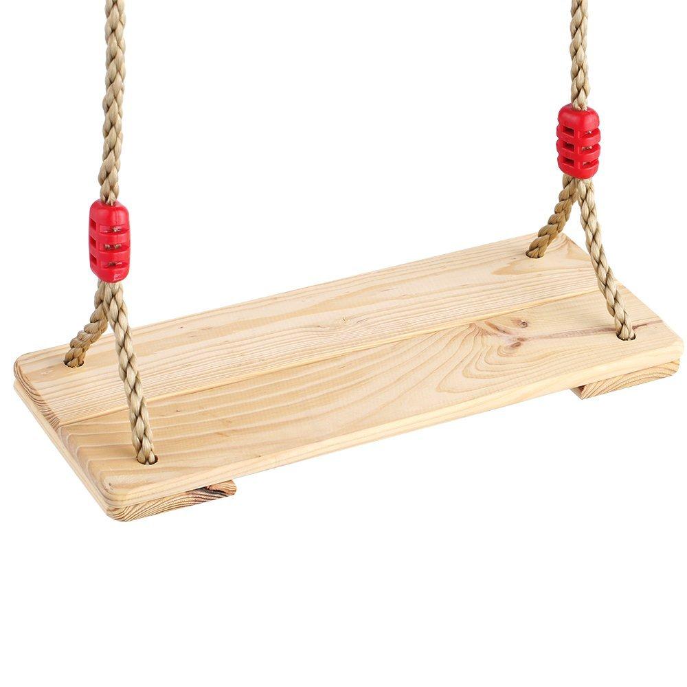Indoor outdoor children kids 2pcs hardwood wooden hanging for Indoor swing seat