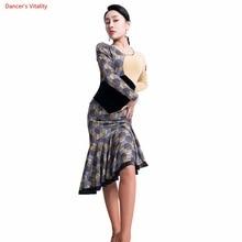 d81bae8b0d42b Vestido de baile latino Sexy Blackless manga larga volantes falda dama ChaCha  Salsa vestidos para mujer Danza Latina fase prácti.