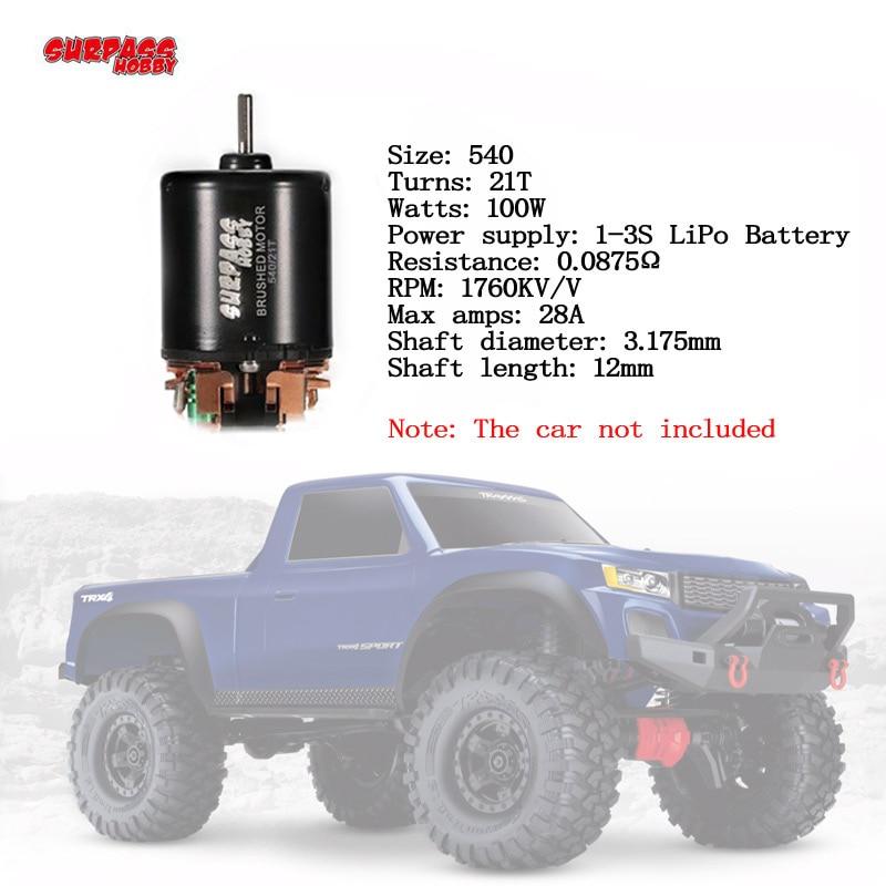 540 13 t 17 t 21 t 23 t 27 t 35 t 45 t 55 T 80 t cepillado motor RC 1/10 Rock Crawler Traxxas TRX-4 Ford Bronco D110 SCX10 4WD vehículo
