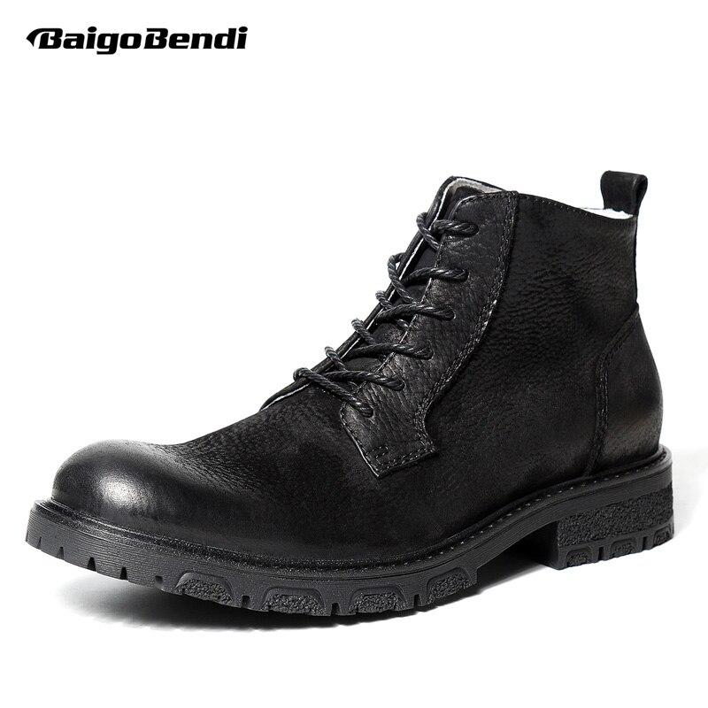 Cour Inverno Preto Genuíno Plush Deserto Black Homem Homens Quente Sapatos Do Estilo De black Negócios Dos Retro Up Lace Equitação Britânico Botas TqgwFzfF