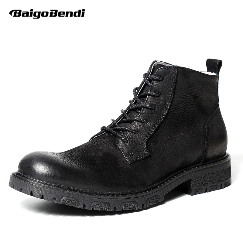 British Style Mens Retro Shoes Genuine Leathe Desert Boots Business Man Lace Up Black Ridding Boots winter Warm Shoes serene handmade winter warm socks boots fashion british style leather retro tooling ankle men shoes size38 44 snow male footwear
