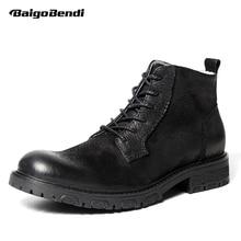 British Style Mens Retro Shoes Genuine Leathe Desert Boots Business Man Lace Up Black Riding winter Warm