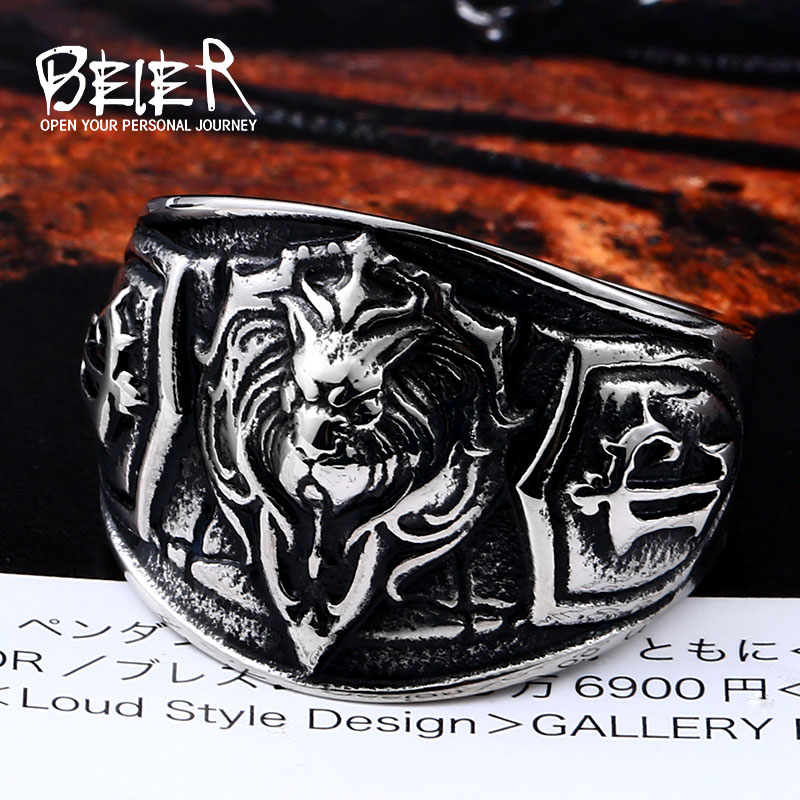 Amiable Beier New Store World Of Warcraft The Alliance Lion 316l Stainless Steel High Quality Men Ring Fashion Jewelry Llbr8-300r Harmonious Colors
