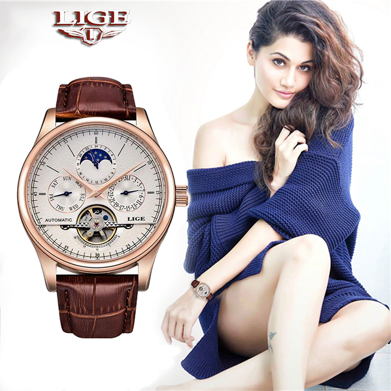LIGE Brand Women Watch Automatic Mechanical Watch Tourbillon Sport Clock Leather Casual Waterproof Wristwatch Relojes Mujer+Box
