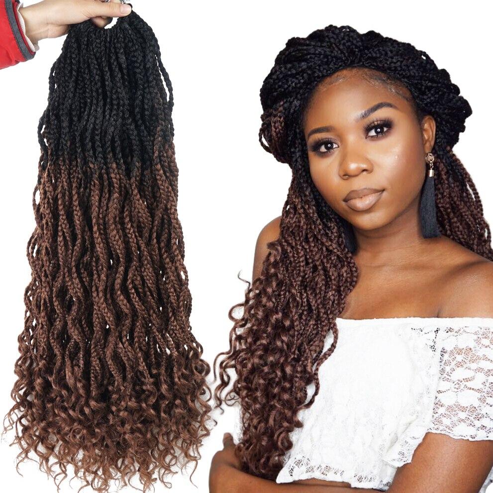 Hilos sedosos diosa caja trenzas extensiones de cabello de ganchillo trenza sintética a Crochet trenzado pelo colores negros a granel
