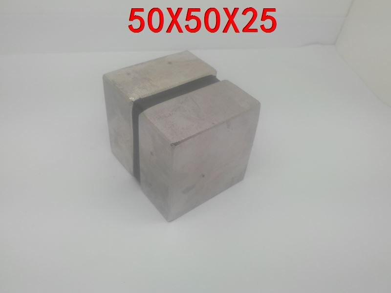 50*50*25 2 pièces super 50mm x 50mm x 25mm forte néodyme aimant n52 puissant neodimio super aimants imanes