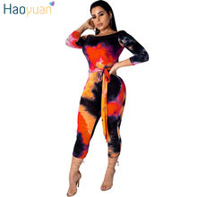 9d60cb3938f1 HAOYUAN Sexy Off Shoulder Jumpsuits Women 2019 Summer Overalls Tie Dye  Short Playsuit Bandage Bodycon Rompers Womens Jumpsuit
