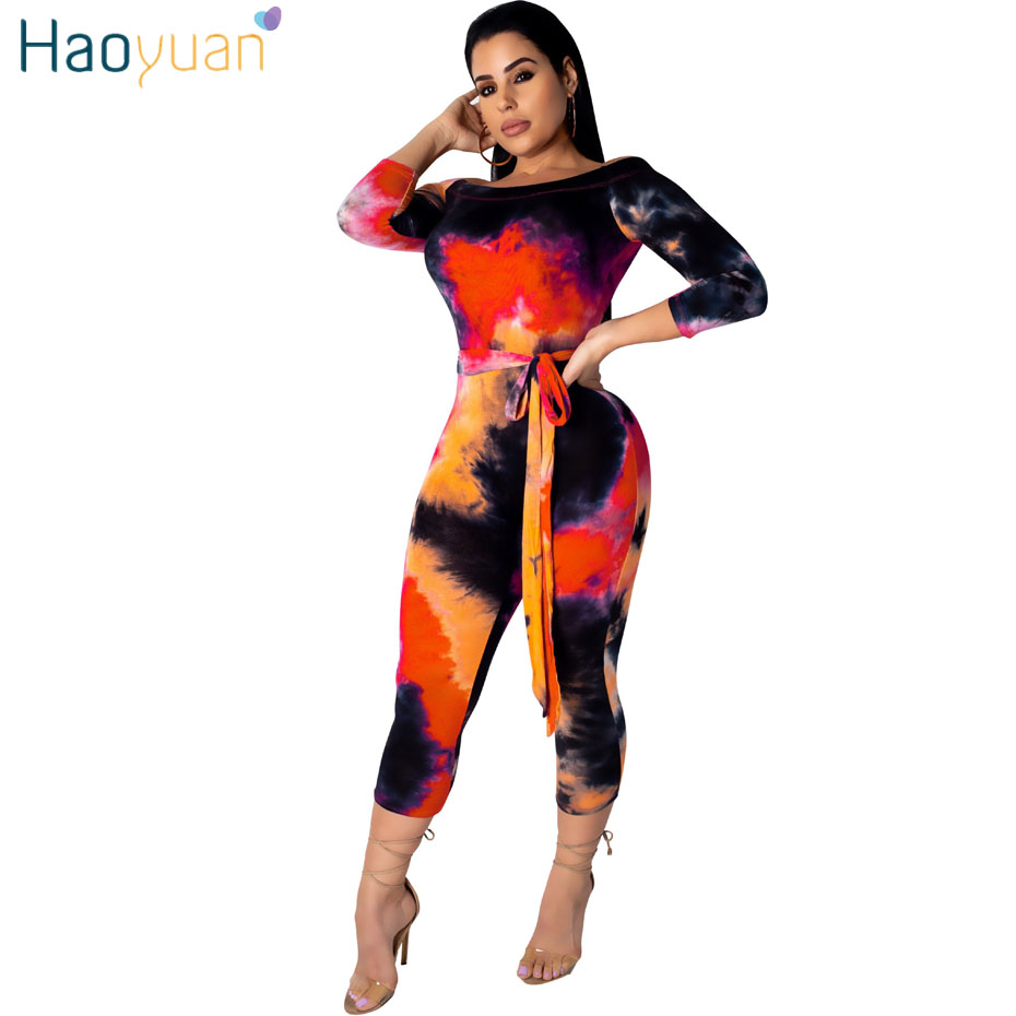 HAOYUAN Sexy Off Shoulder   Jumpsuits   Women 2019 Summer Overalls Tie Dye Short Playsuit Bandage Bodycon Rompers Womens   Jumpsuit