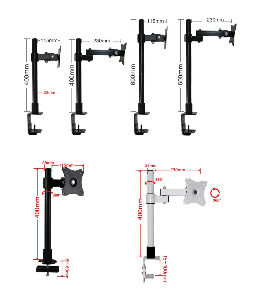 Premintehdw Adjustable Tilting Swivel Arm Table Desk Mount 14-27 LCD LED Screen Monitor Bracket Holder Stand