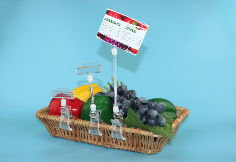 Clear Pop Plastic Sign Paper Card Display Price Label Tag Promotion Signage Clips Holders In Supermarket Retails 20pcs