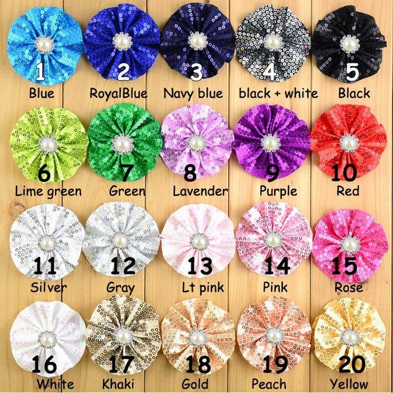 20 Pcs Lot 7 Cm Multicolors Sequin Tissu Ballerine Fleurs Pour