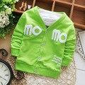 2015 весна осень мальчики куртки простой момо письма печать кардиган дети пальто детей и пиджаки Y1602