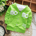 2015 del otoño del resorte Simple chaquetas MOMO letras imprimir rebeca del bebé kids escudo niños Outwear Y1602