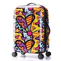 Women's Fashion Color Stitching Style Travel Suitcase Girls Hard Shell Luggage Universal Wheels Trolley Luggage