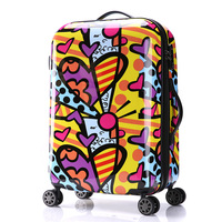 Women's Fashion Color Stitching Style Travel Suitcase Girls Hard Shell Luggage Universal Wheels Trolley Luggage