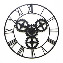 Large 70cm American black antique wall clock Iron vintage gear bar coffee house clocks home decor  large