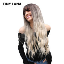 TinyLana 26 Inch Synthetic Wig with Natural Bang Water Wave Dark Root Ombre Brown High temperature Fiber Cosplay Wigs 2 Colors(China)