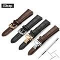 Istrap pulseira 18mm 19mm 20mm 21mm 22mm 24mm bezerro macio relógio de couro genuíno cinta faixa de relógio jacaré grain para tissot seiko