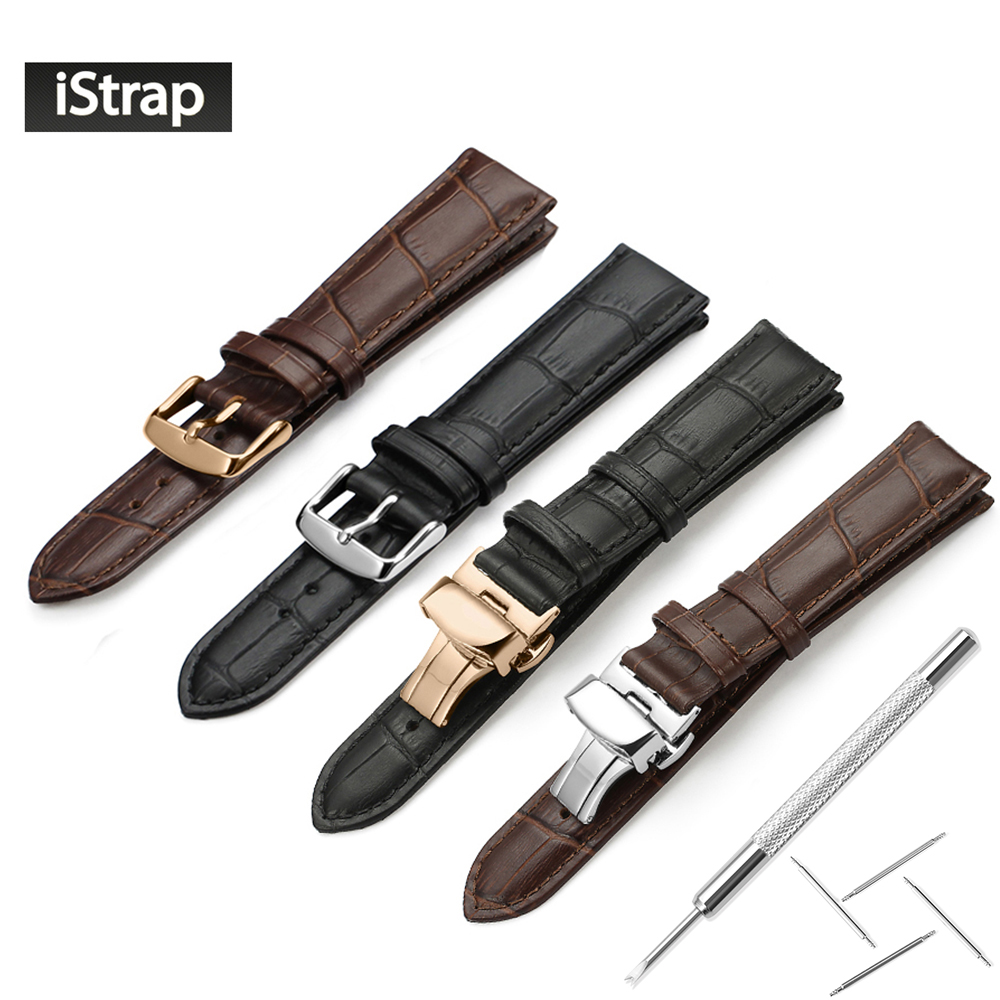 iStrap Watchband 18mm 19mm 20mm 21mm 22mm 24mm Soft Calf Genuine Leather Watch Strap Alligator Grain Watch Band for Tissot Seiko new mens genuine leather watch strap bands bracelets black alligator leather 18mm 19mm 20mm 21mm 22mm 24mm without buckle