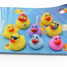100pcs / mini rubber duck bath toys multi-color style baby children bathroom water swimming squeeze bathing