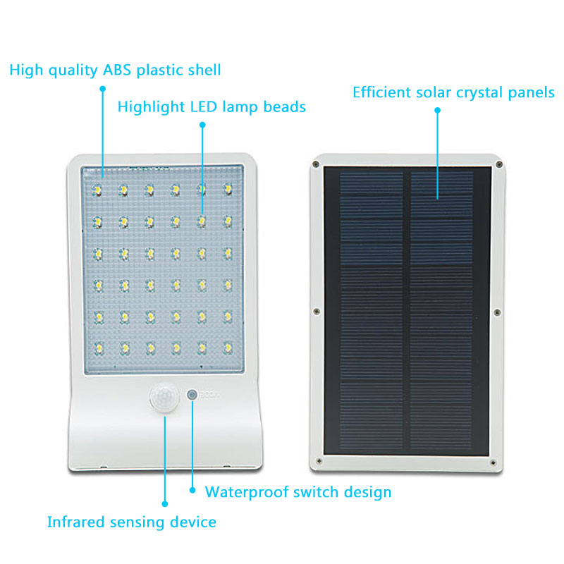 Solar Street Light PIR Motion Sensor Lamp 450LM 36 LED Solar Wall ...