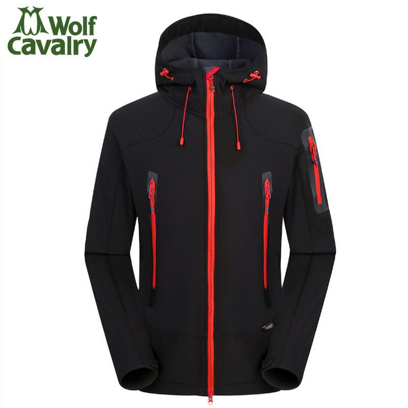 ФОТО Spring autumn Outdoor Fleece Men's soft shell jacket coat waterproof warm jacket Sport Hooded Coat Outerwear for camping hiking