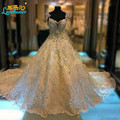 Custom Made Luxury Crystal Sweetheart Wedding Dresses 2016 Cathedral Royal Trian Cap Sleeve Backless Ball Gown Wedding Dress