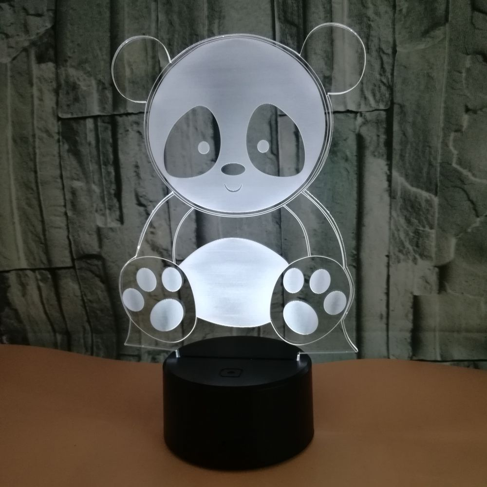 Cute Panda 3D Night Light Creative Electric Illusion 3d Lamp LED 7 Color Changing USB Touch Desk Lamp For Kid's Gift